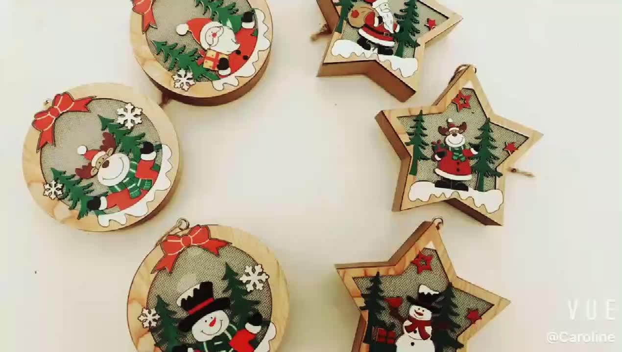 Christmas hanging ornaments wood Santa Claus Snowman Elk hang light Round Pentagram