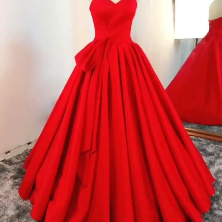 RSE895 Sweetheart Neckline Ball Gown Long Pleat Sleeveless Satin Red Dress Women