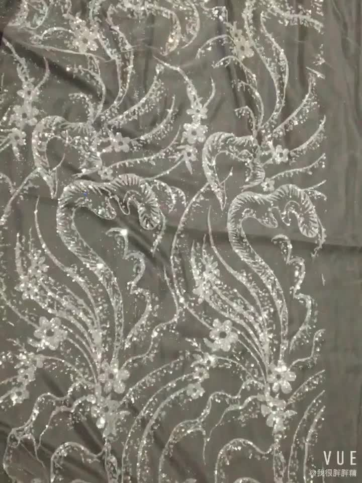 Wedding Curved Sequins Embroidered Lace Flowers Fabric