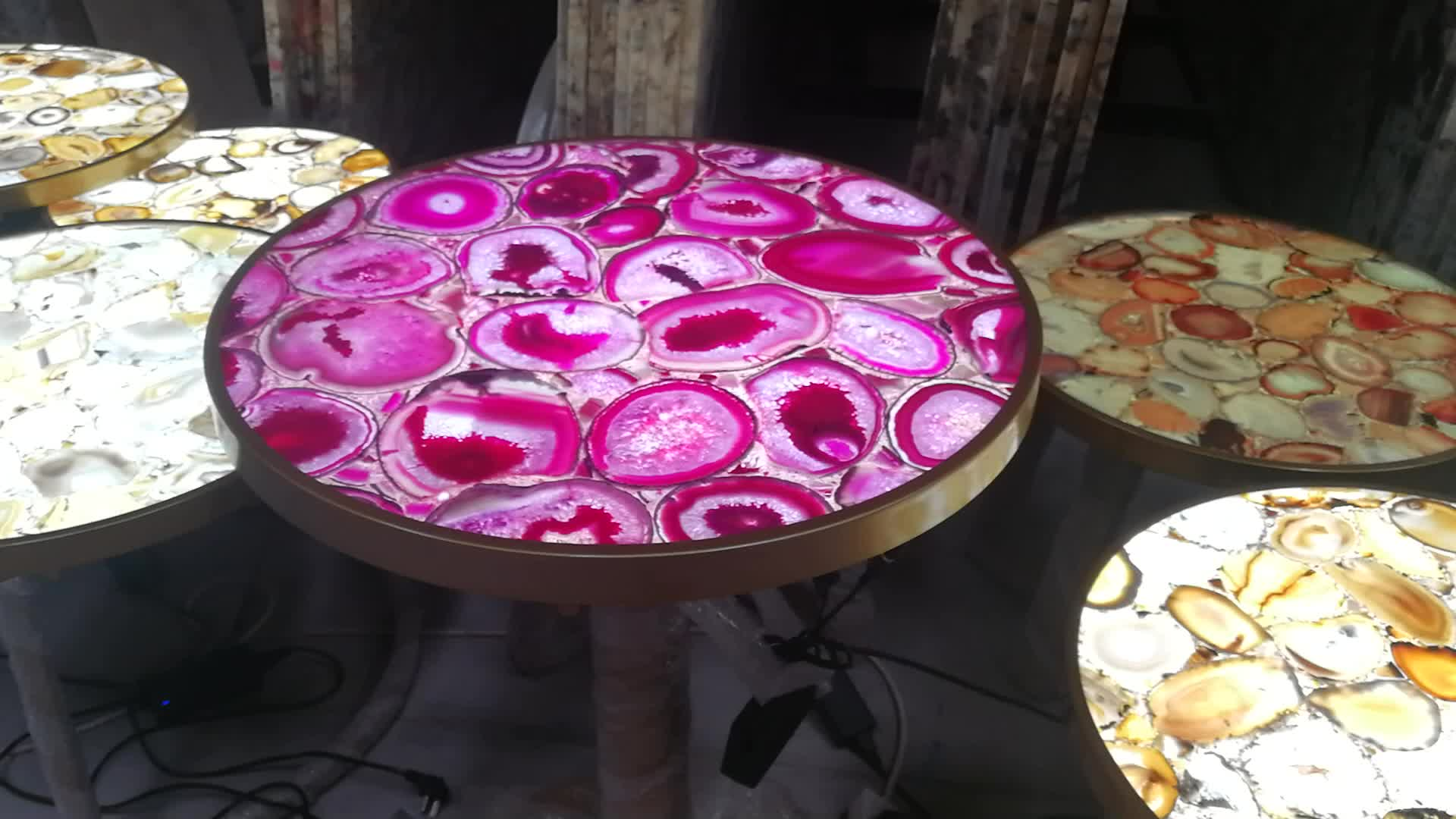 Rose agate coffee table