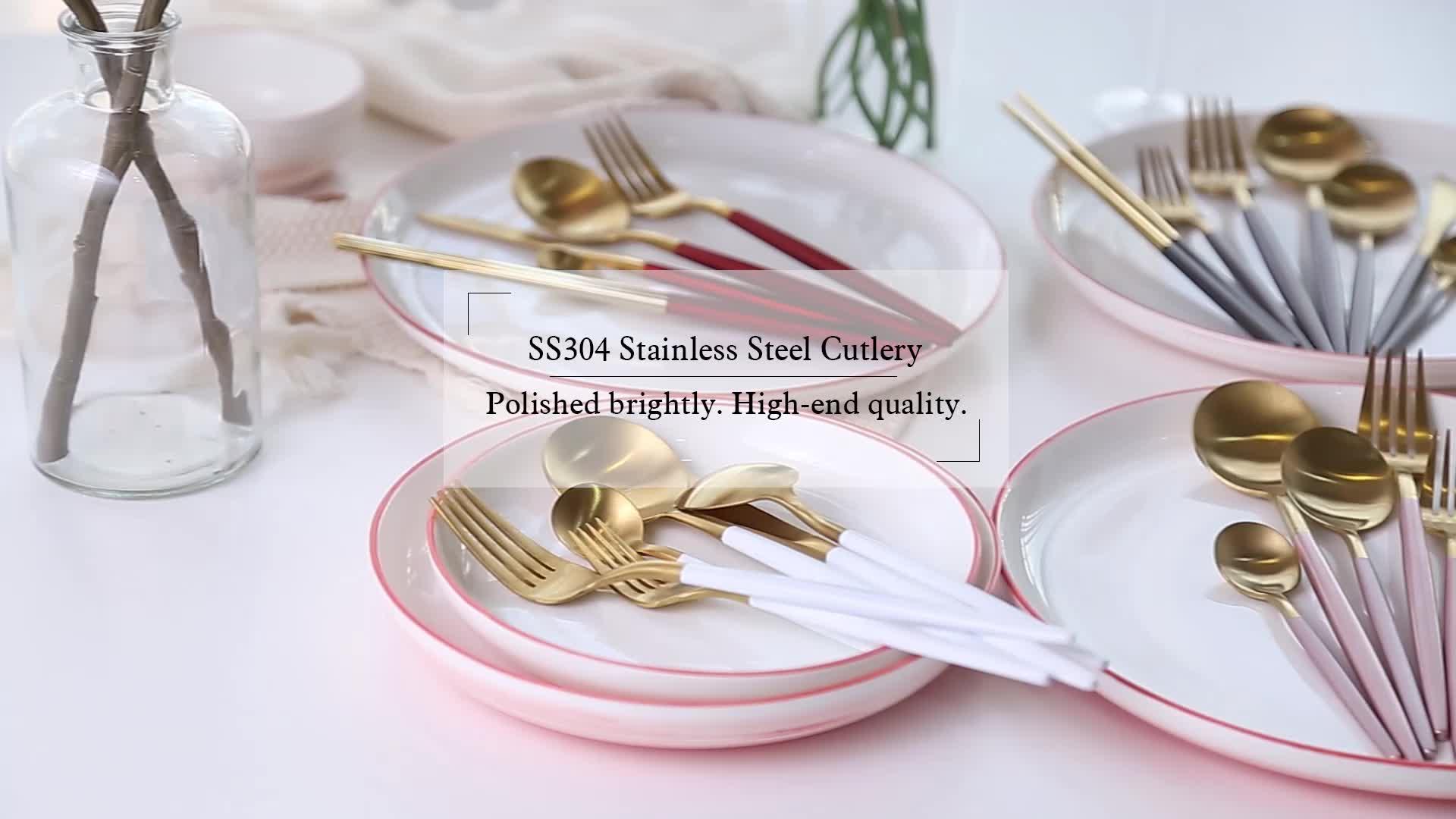 Jieyang luxury elegant 18/10 silverware stainless steel restaurant bulk flatware set custom gold plated reusable cutlery set