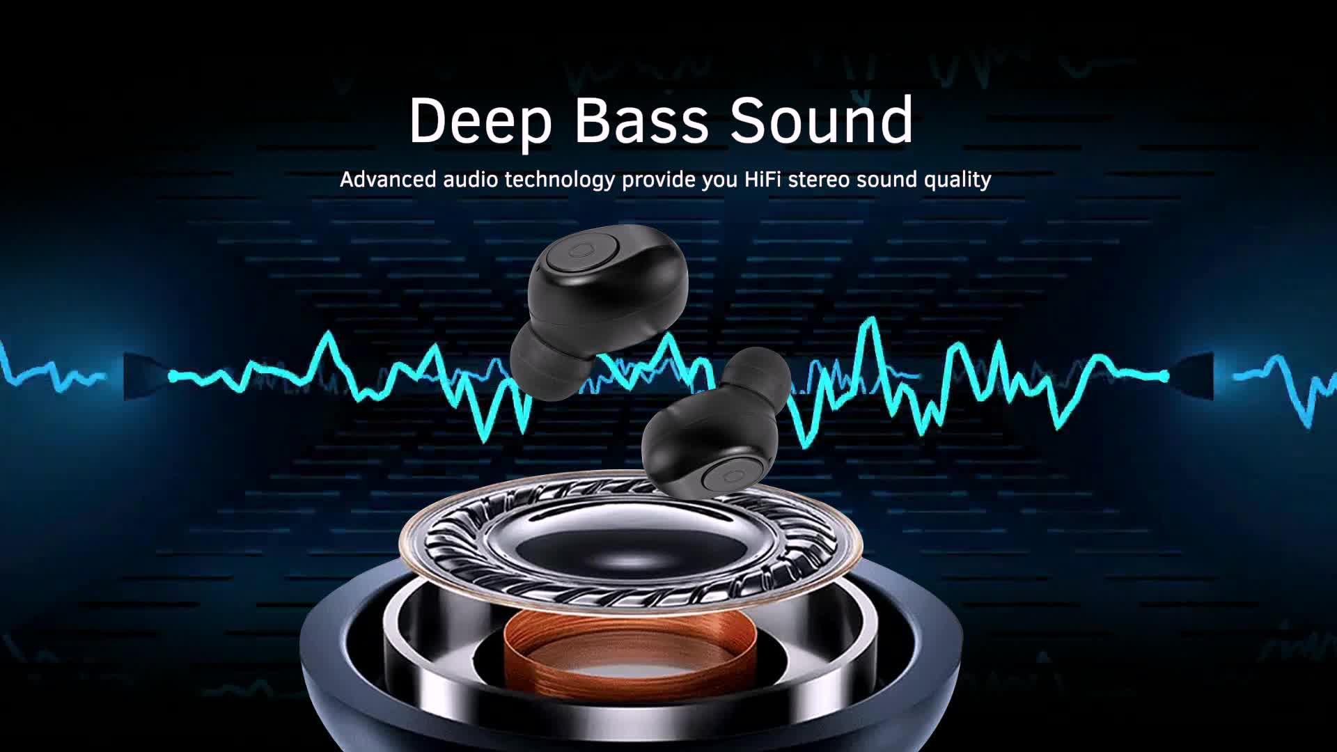 Super-Fast Paring True Wireless Stereo TWS In-Ear Bluetooth V5.0 Ear Buds Earphones RX19 with 96H 2000mAh Powerbank Box