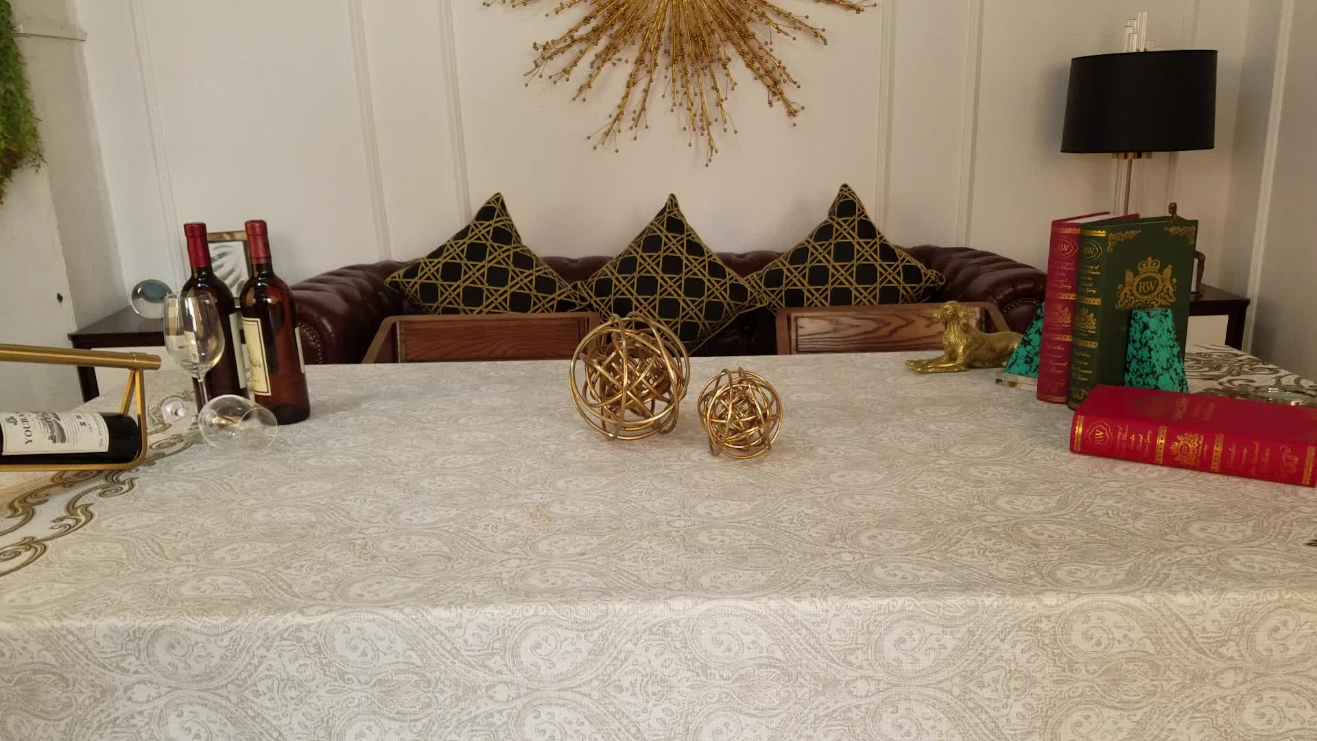 Antique brass color  iron twig ball top decorated gold iron ball decor living room decoration