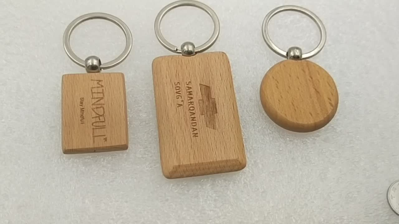 Factory Keyring Custom Low Price Carving Logo Key Chain Wooden