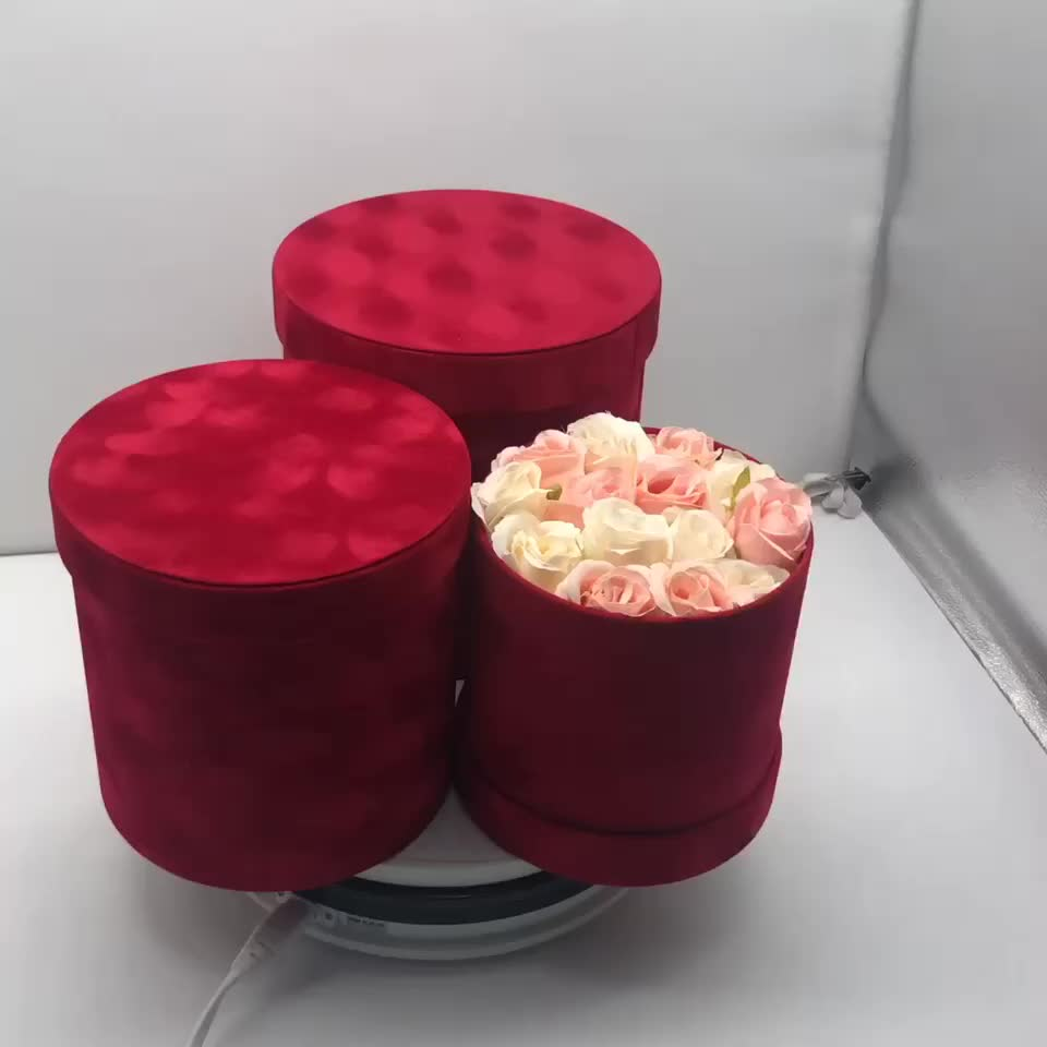 Luxury Forever Rose Anniversary Cylinder Hat Boxes With Lid  Pink Velvet Tall Round Circle Portable Flower Gift Packing Box Sets