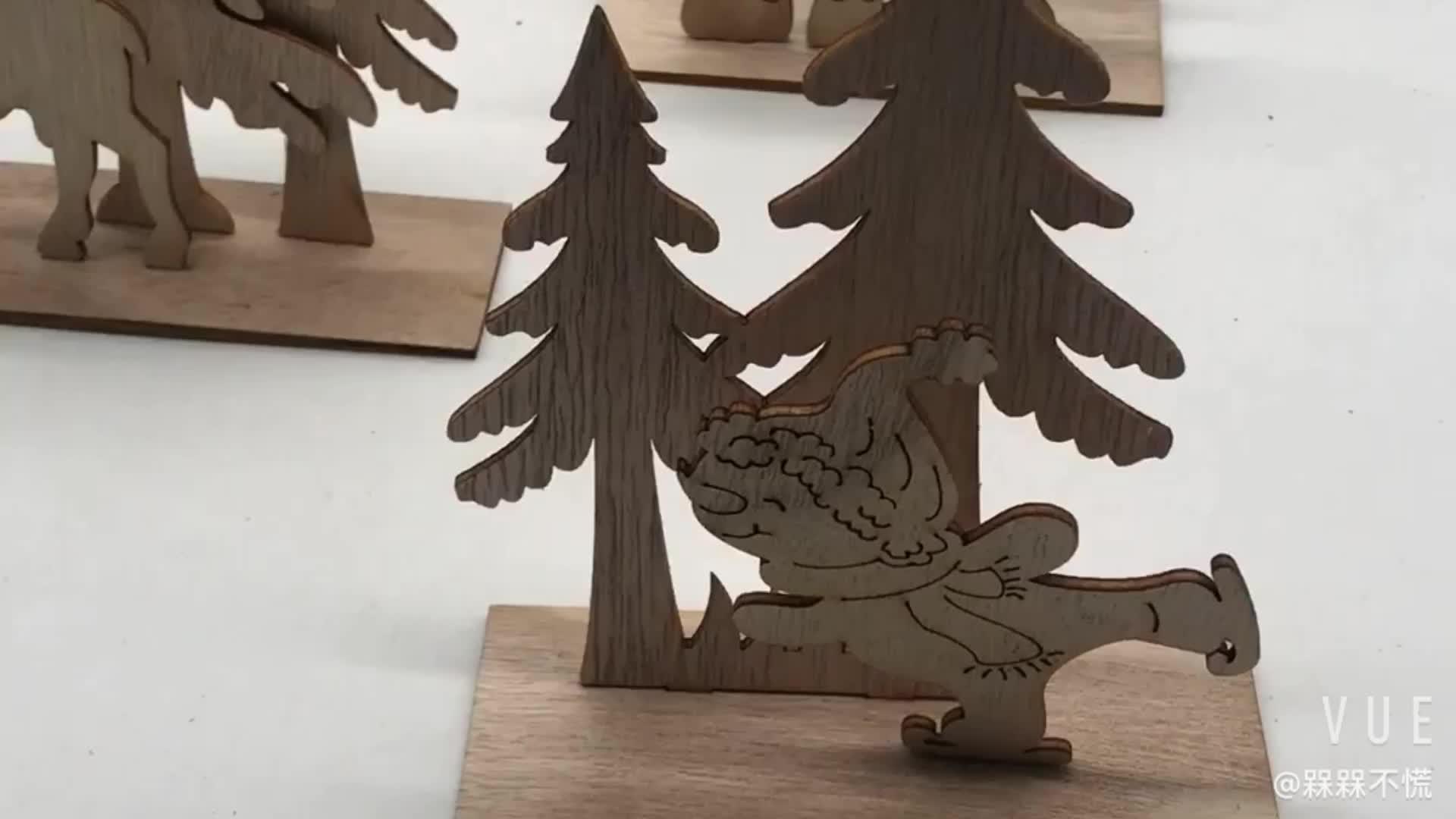 Natal decoração de mesa de madeira em pé