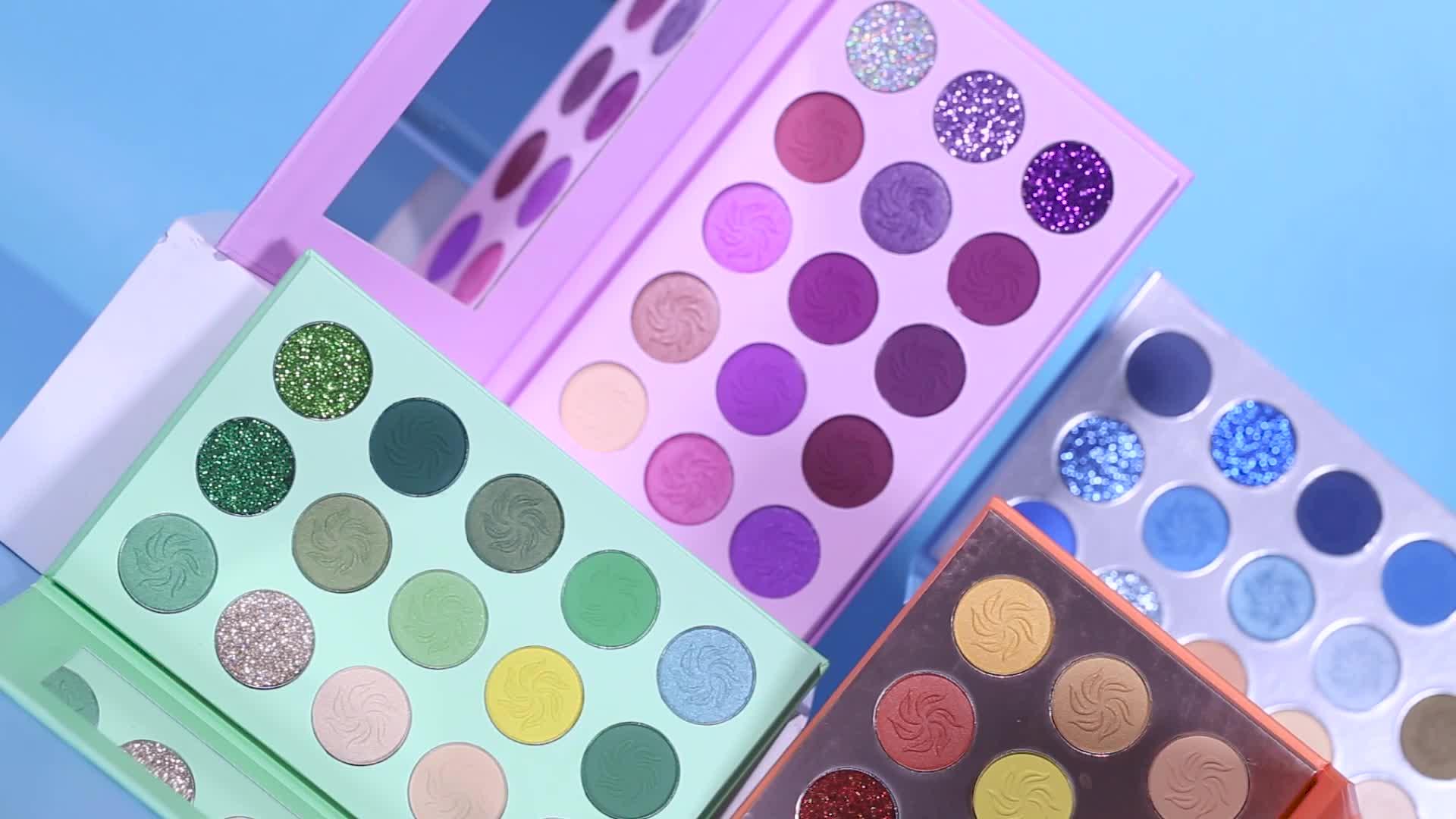 Grosir Kustom Kosmetik Custom Eye Shadow Pallet Pigmen Yang Tinggi Krim Private Label Eyeshadow Palet