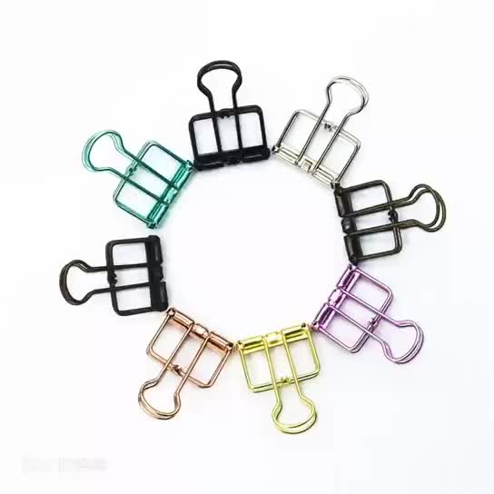 Wholesale price mixed color metal skeleton custom metal binder clips