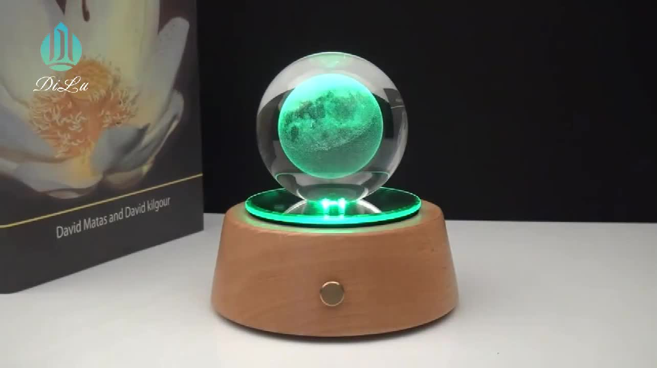 Wholesale New Creative Wood Base Will Shine  Blue Tooth 3d Laser Crystal Ball Music Box
