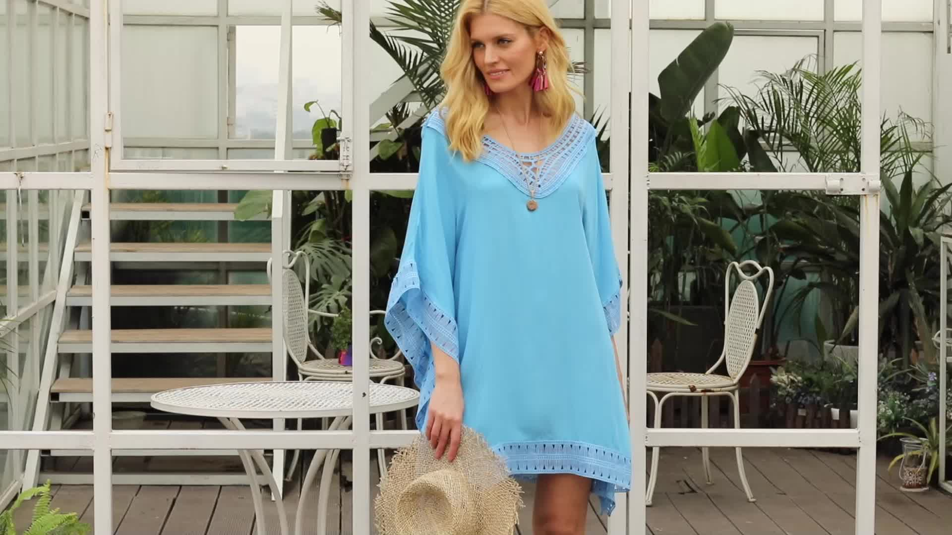 Crochet Trimming Beach Cover up For Women