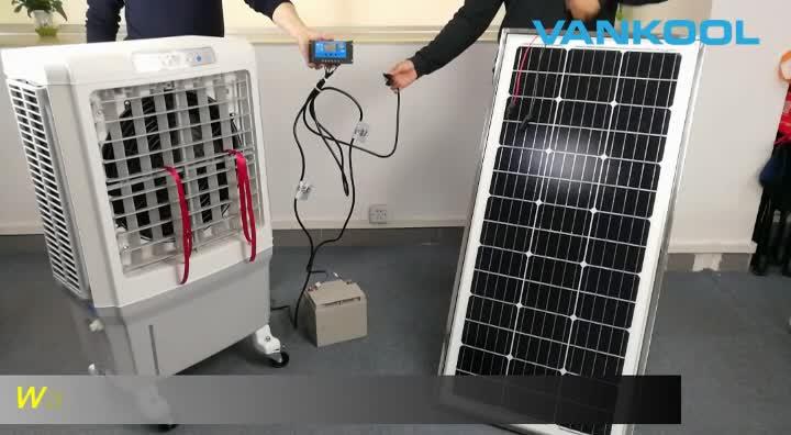 Taşınabilir 12V 24V güneş dc HAVA SOĞUTUCU evaporatif 12v soğutucu GÜNEŞ PANELI