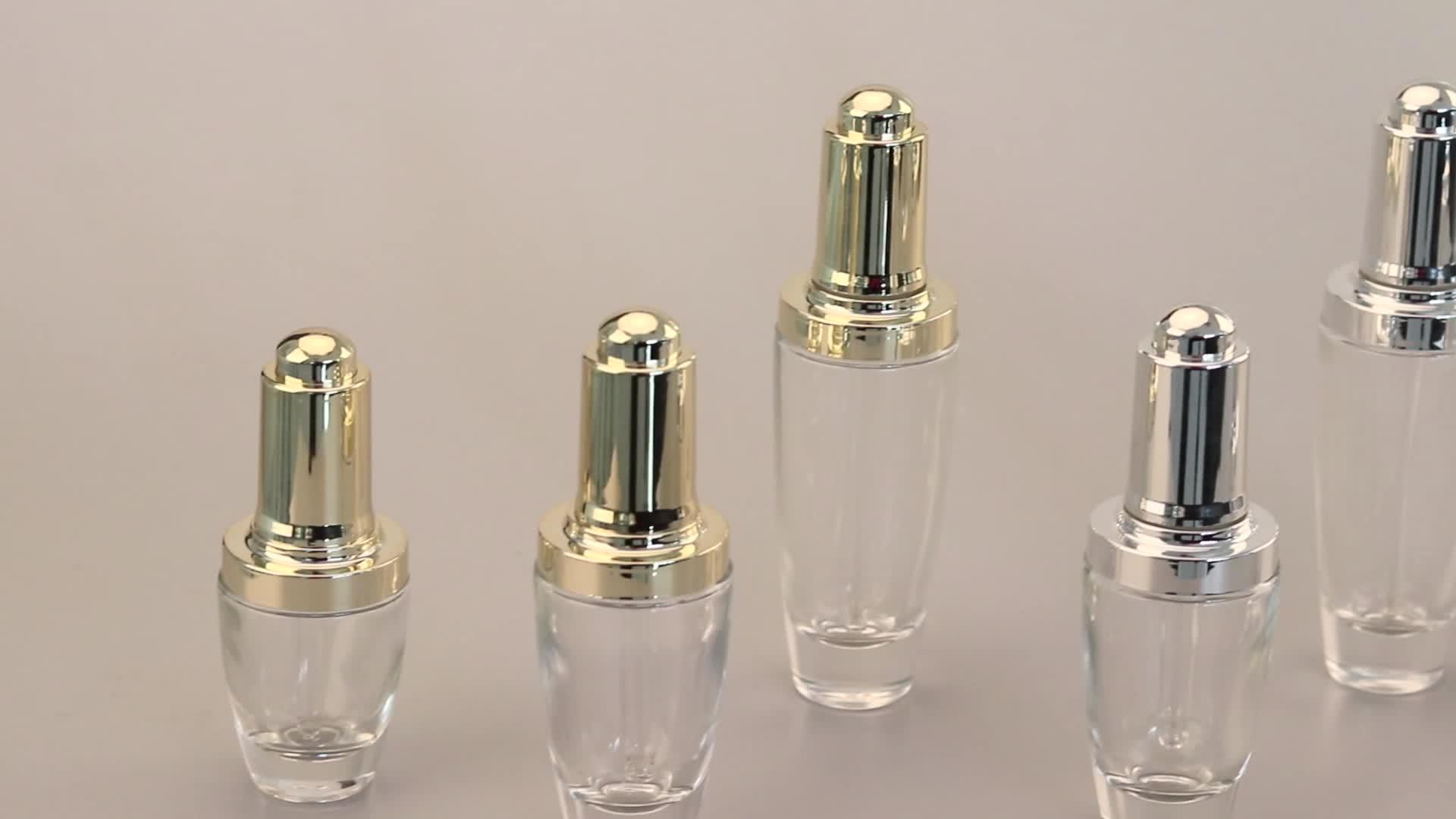 Flacon compte-gouttes en verre, de luxe, avec couvercle doré en argent, pour sérum d'huile essentielle, 10 pièces, 20ml, 30ml, 40ml