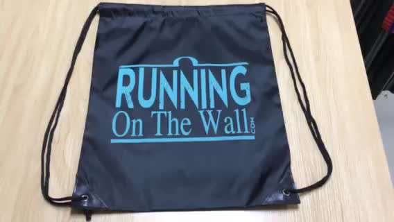 Foldable waterproof 210D polyester drawstring bag promotional