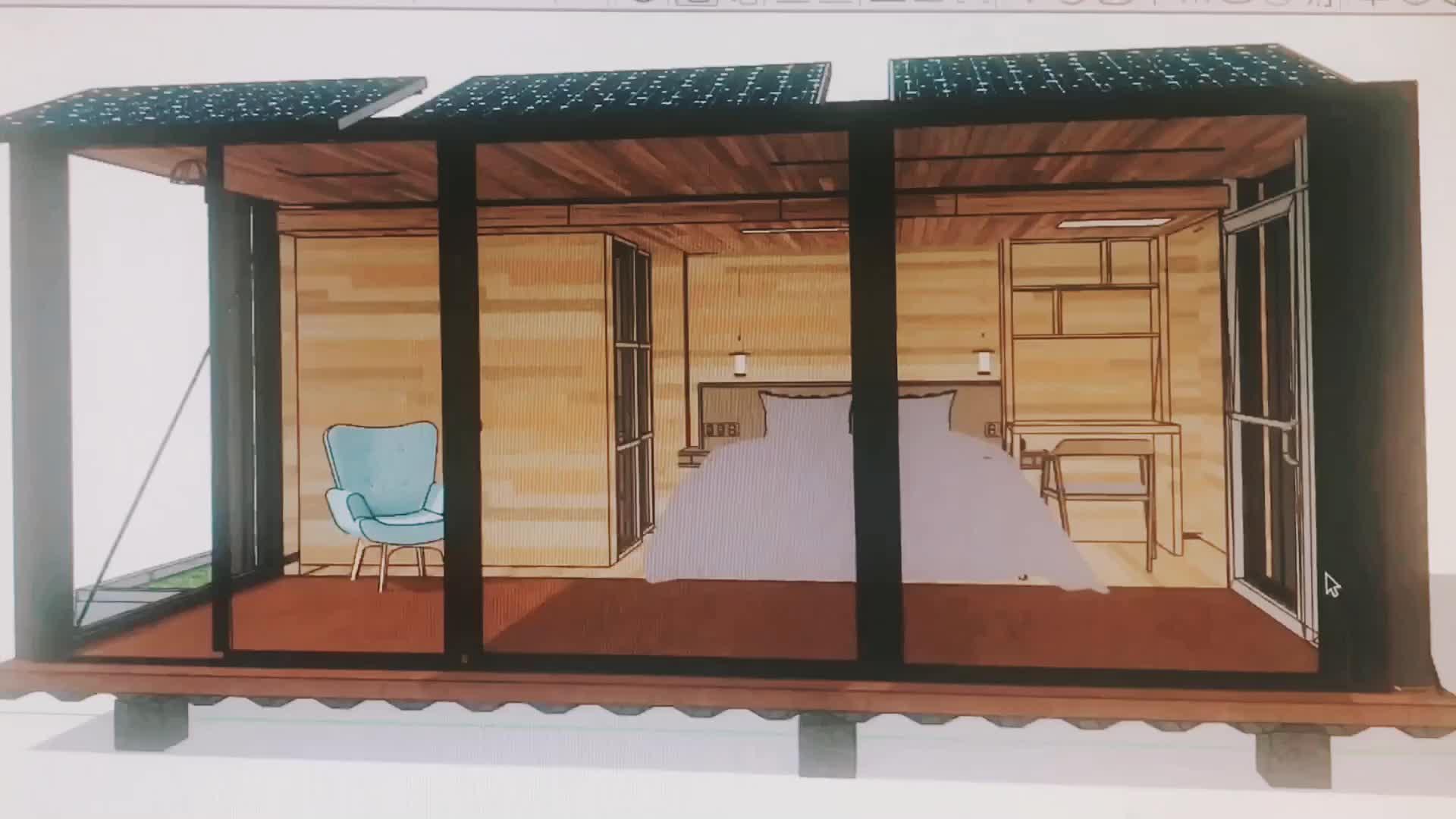 Modern Tasarım sürgülü kabin konteyner ev 20ft kargo konteyneri cam duvar ile