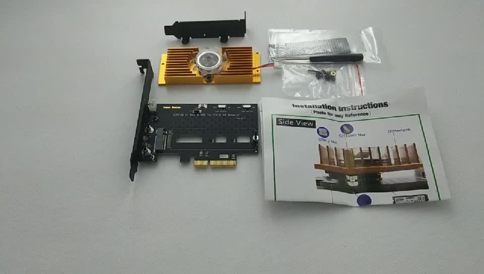 NGFF M.2 NVME PCIE Ssd PCI-E 3.0 4X アダプタカードの Pci Express w/冷却ファン & ブラケットサポート m2 フォームファクタ 2242 2260 2280