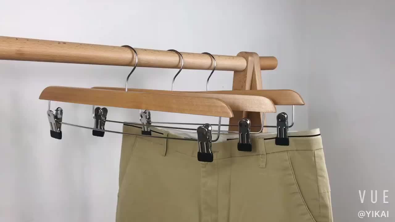 Wholesale promotional products durable fashion pant trousers wooden hanger