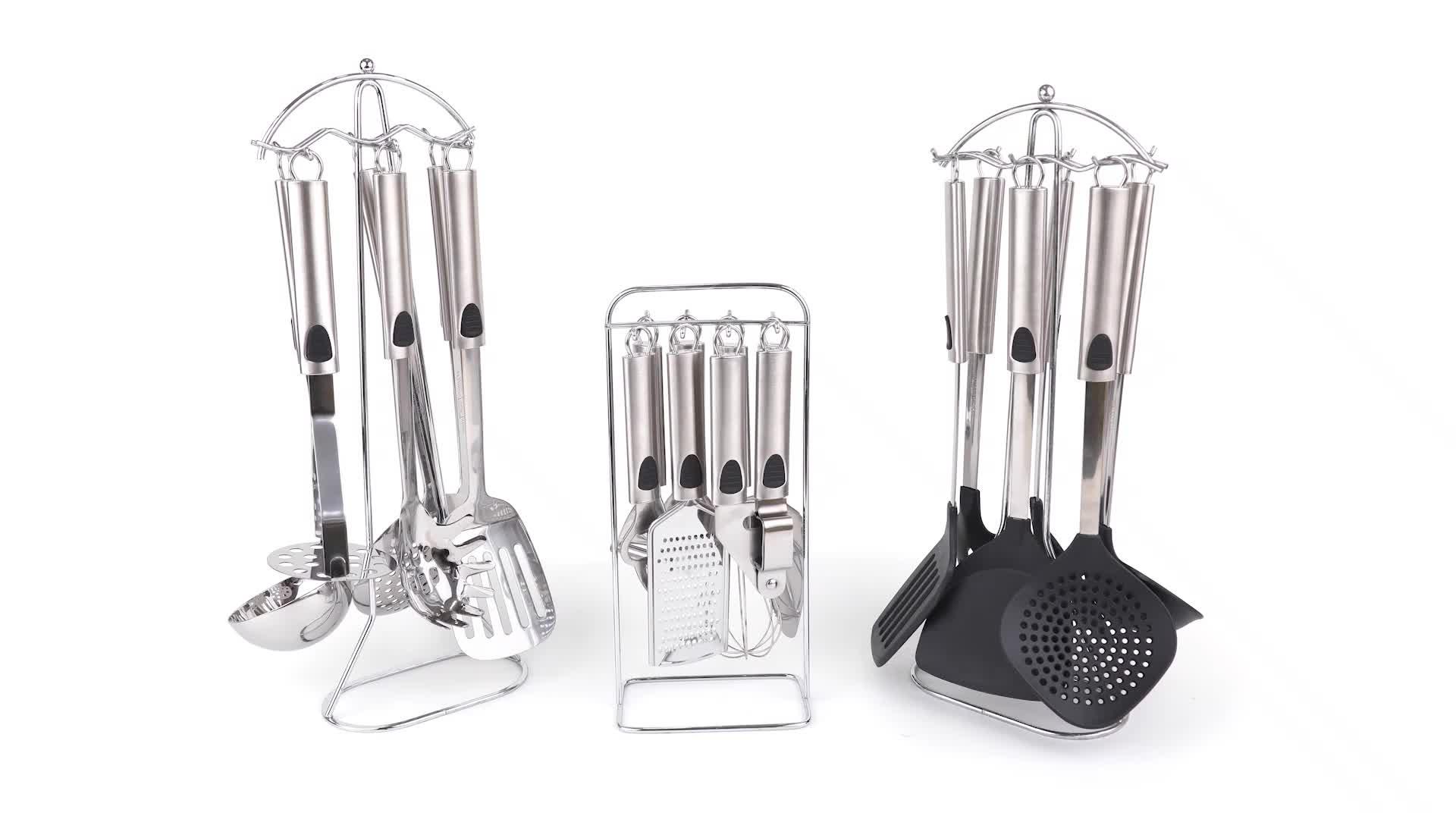 Silikon home küche utensil werkzeug set edelstahl halter küche zubehör set