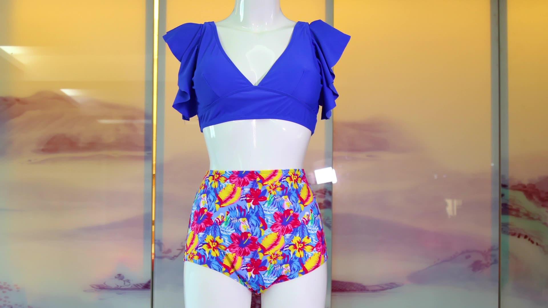 2020 di stampa Costumi Da Bagno Delle Donne del Bikini A Vita Alta Volant Costume Da Bagno Push Up Bikini Set Costume Da Bagno di usura Della Spiaggia Per La Ragazza Sexy bikini Set