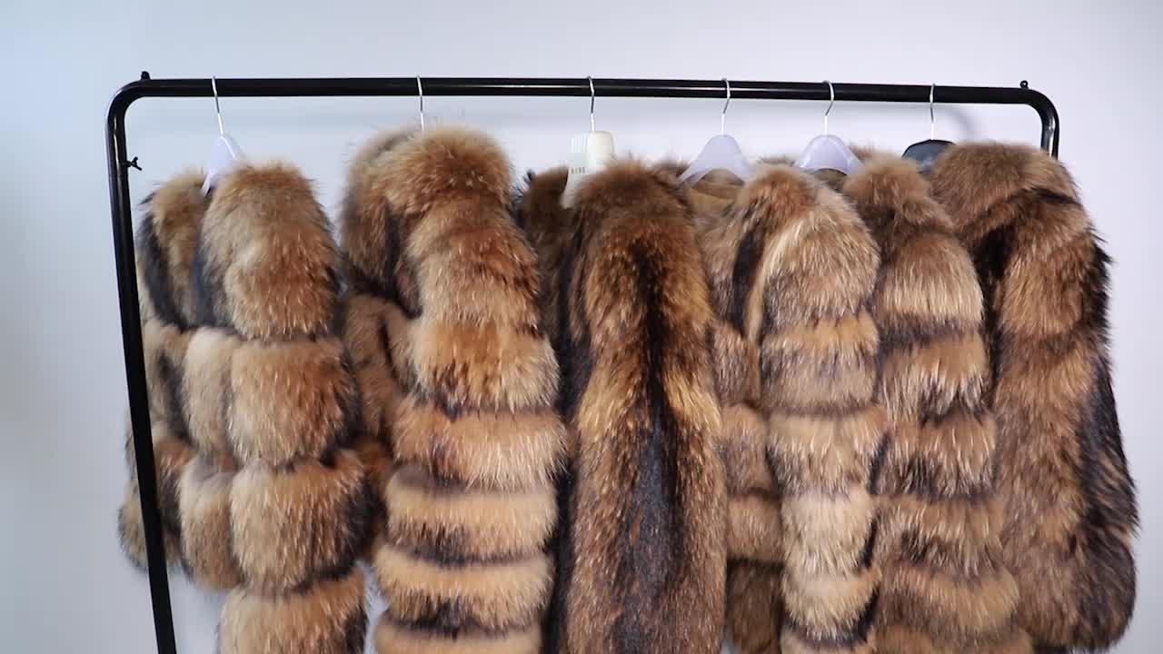 2019 Real Raccoon Fur Jacket Women Thick Warm Winter Fashion Natural Fur Clothing Female Overcoat Lady Real Raccoon Fur Coat