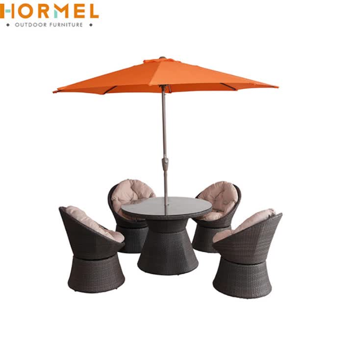 Hormel Garden Sets patio round dining table and chair set synthetic rattan outdoor furniture with umbrella