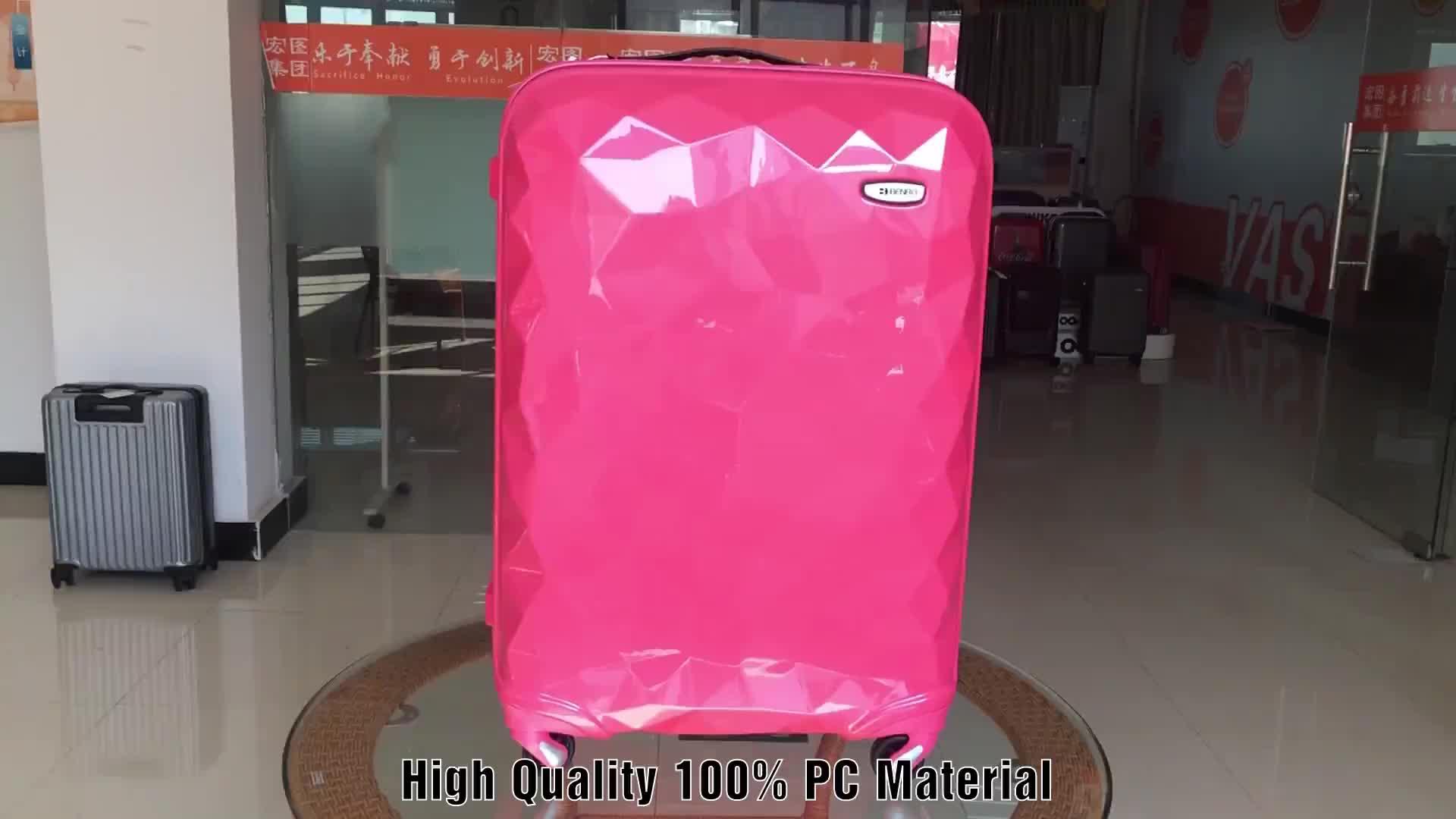 PC y ABS brillante maleta Trolley de viaje equipaje con Protector de la esquina de Metal de 3 piezas
