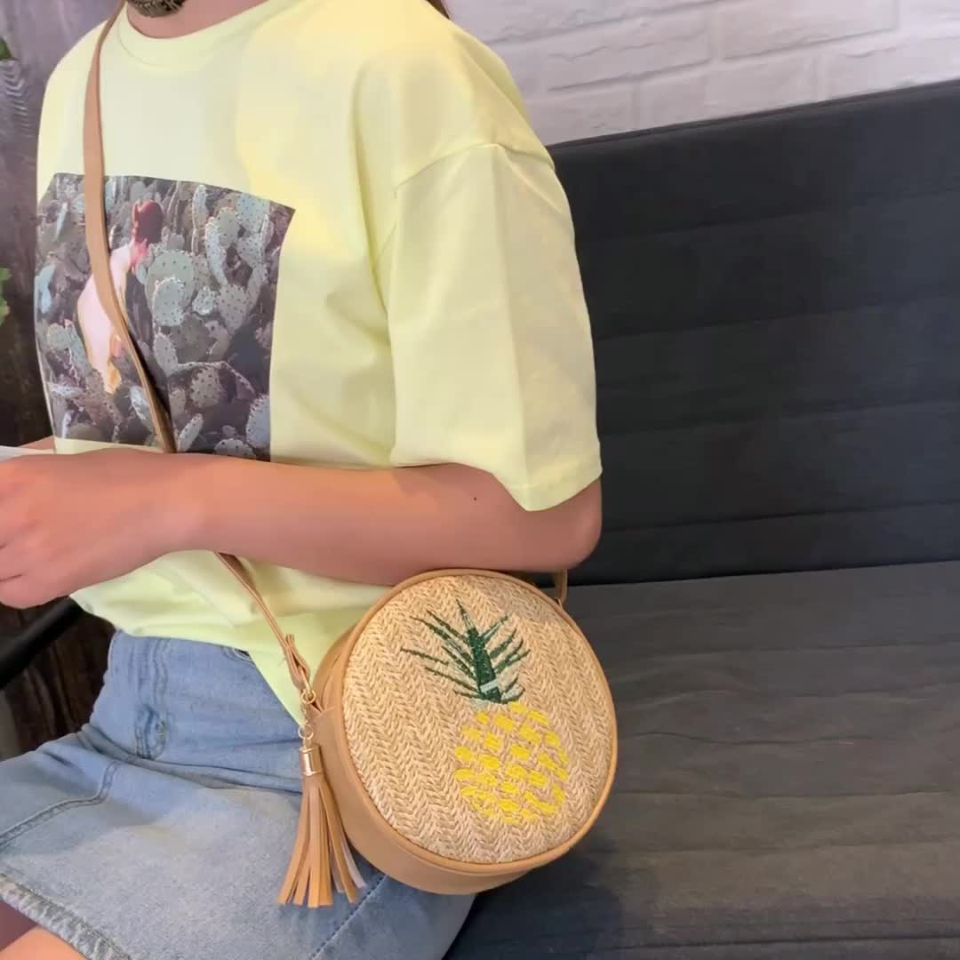 Оптовая продажа пляжная сумка кожаные ремешки ручной работы на ремне круглая сумка из ротанга сумка-мессенджер