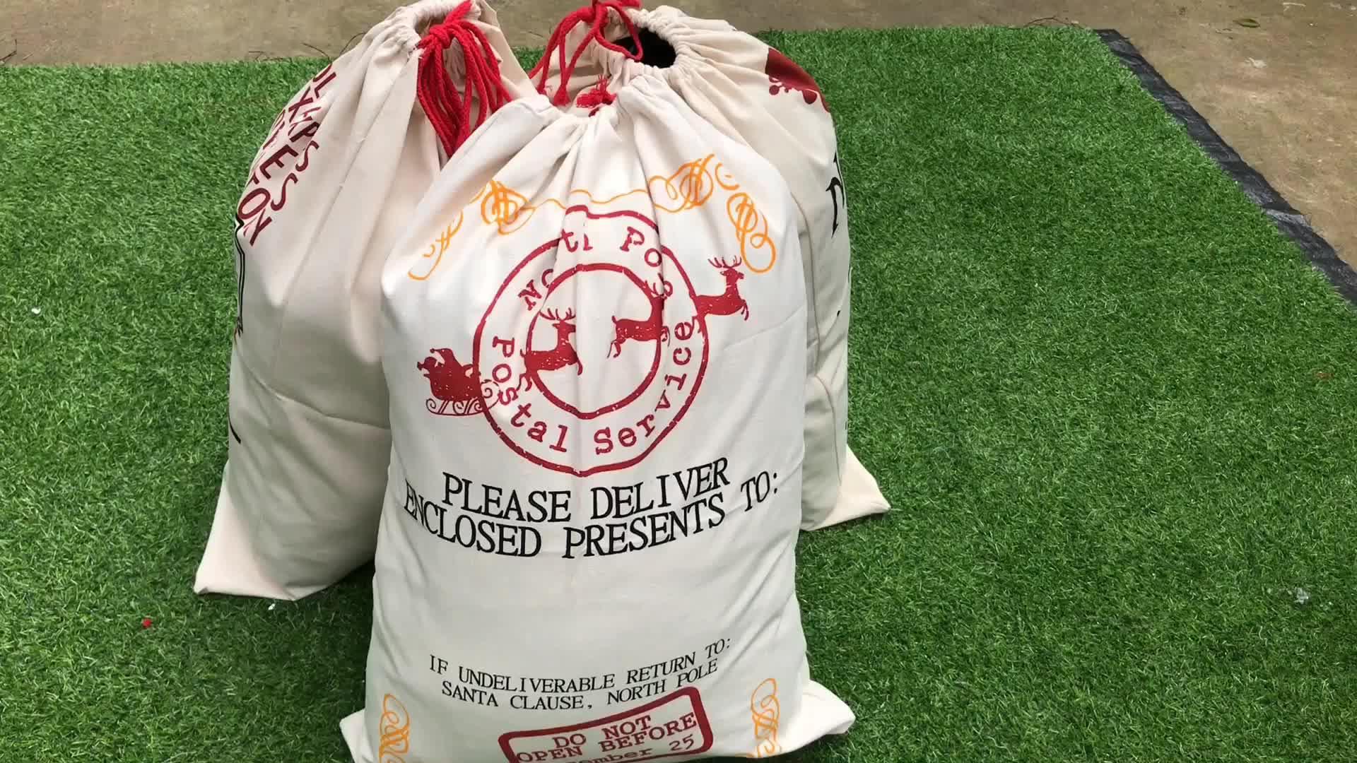 2019 सबसे लोकप्रिय क्रिसमस उपहार बैग थोक व्यक्तिगत बड़े खाली कैनवास सांता बोरी