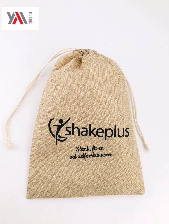 Commercio all'ingrosso naturale di tela con coulisse regalo di iuta dell'assia borse