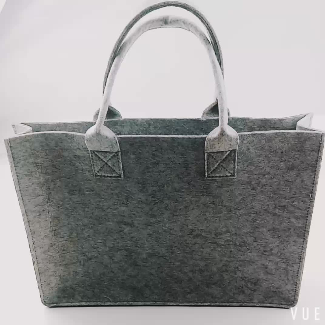 2019 New Fashion Custom Logo hand made polyester felt carry shopping tote gift bag, Eco Friendly Custom Women Felt Bag