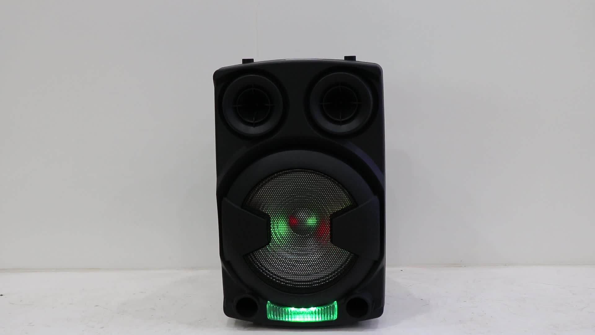 Plastic sound system portable dj wireless bt speaker with trolley and wheels