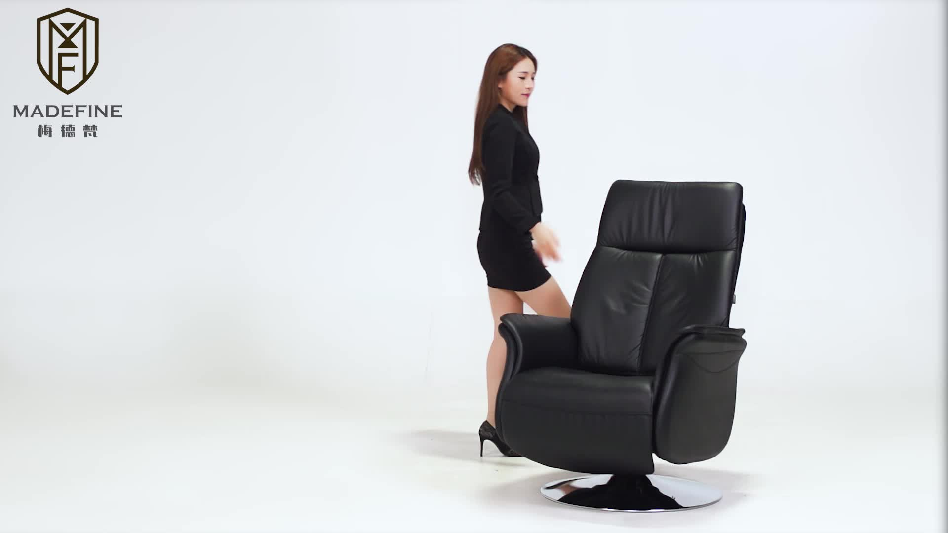 MADEFINE 81872 noir en cuir véritable PU pellissima canapé maison bureau meubles chaises longues salon canapés