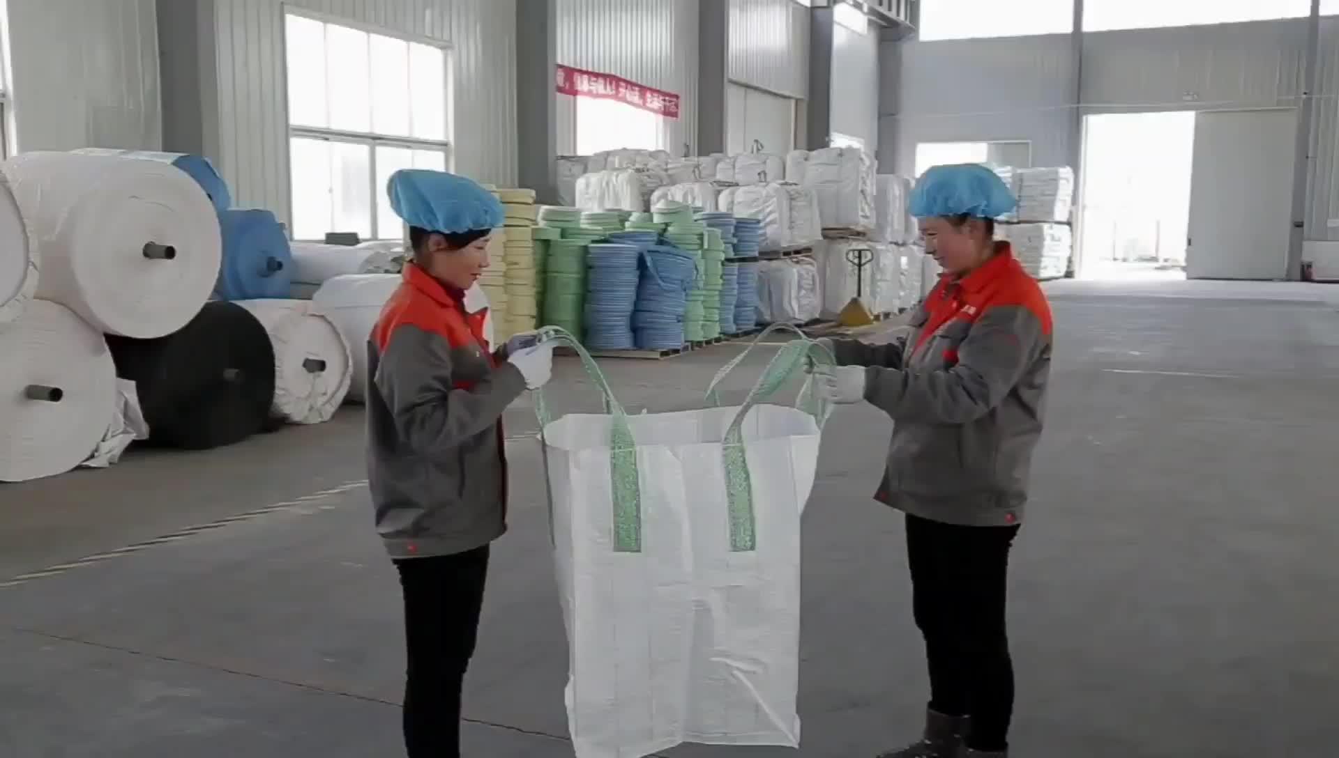 1000 kg polypropylene टुकड़े टुकड़े में खाद्य वर्गीकृत बड़ा बैग फैक्टरी