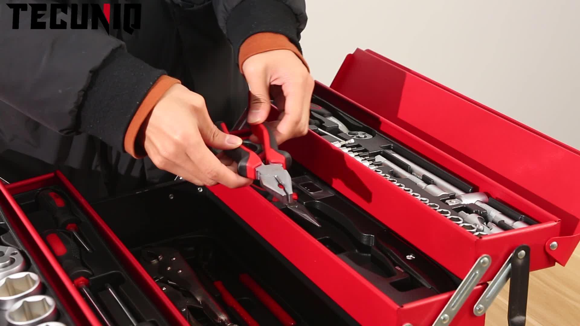 TECUNIQ 86pcs רכב תיקון ברגים סט כלי ערכות רב תכליתי מכונאי רכב רכב יד כלים סט עבור חג המולד מתנה