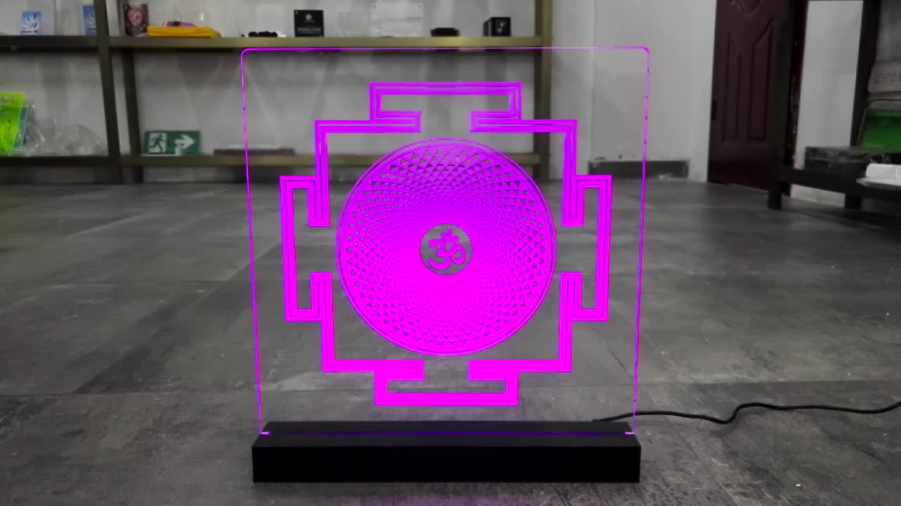 Acrylic LED base display with blue light Acrylic Top Display Sign Holder