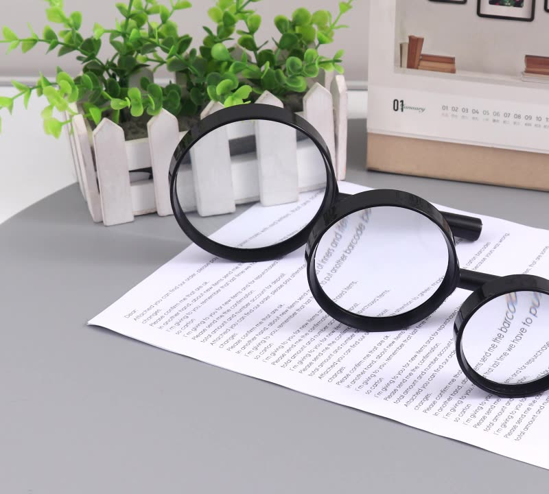 Plastic Frame and Plastic Handle Hand Held Glass Magnifier
