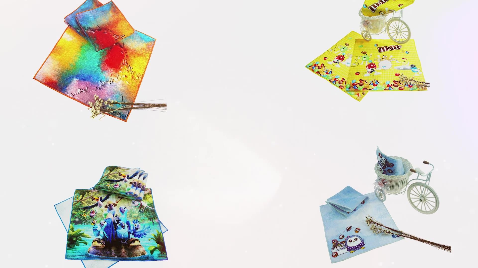 咖乐工厂定制数码印花棉布厨房盘子茶巾设计亚麻方巾