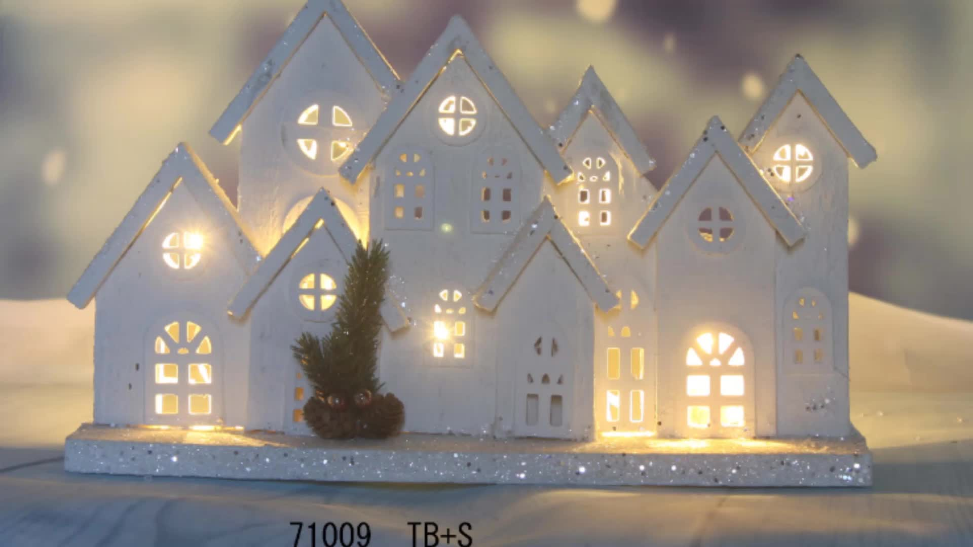 house shaped christmas ornaments  wooden large christmas village     71009