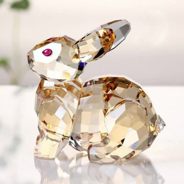 Wholesale Fashion Souvire  Gift Chinese Zodiac Rabbit Animal Crystal Craft for Home Decoration