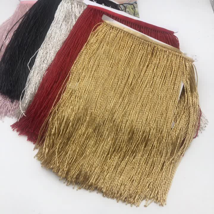 wholesale 30cm(12inches) long Glass Seed Beaded Fringe Lamp Costume Trim Crafts