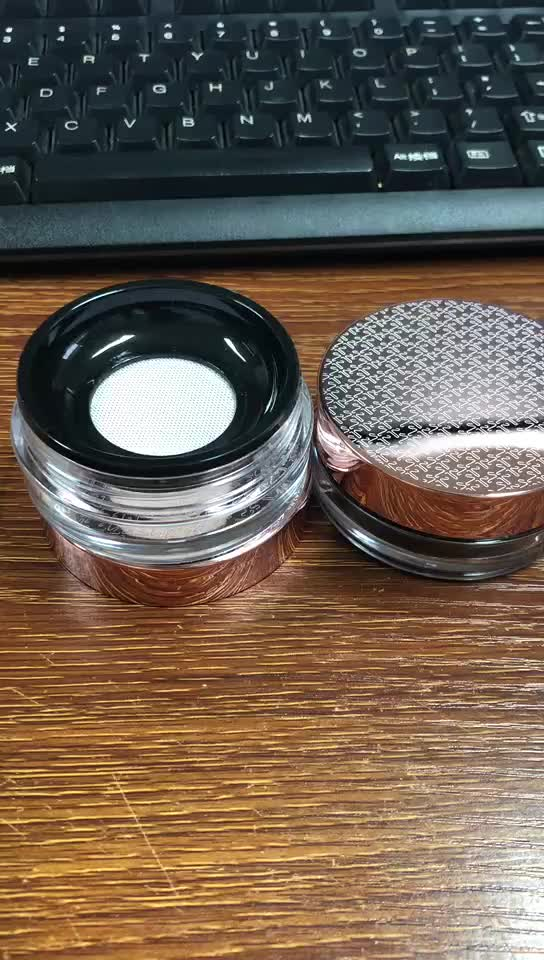 cheap price ps plastic loose  powder container compact loose powder jar with sifter