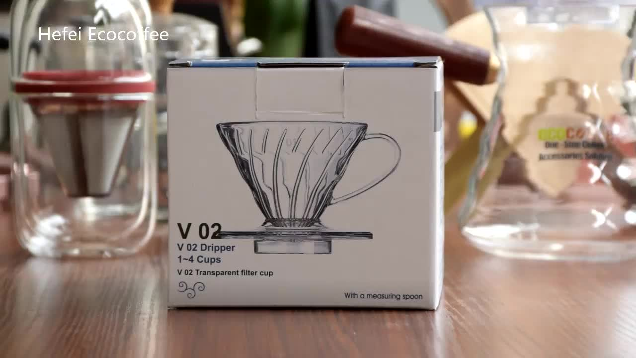 Ecocoffee Coffee Dripper V60 Heat-resistant resin 2/4cups for Barista Coffee Brewing Cup Coffee Maker