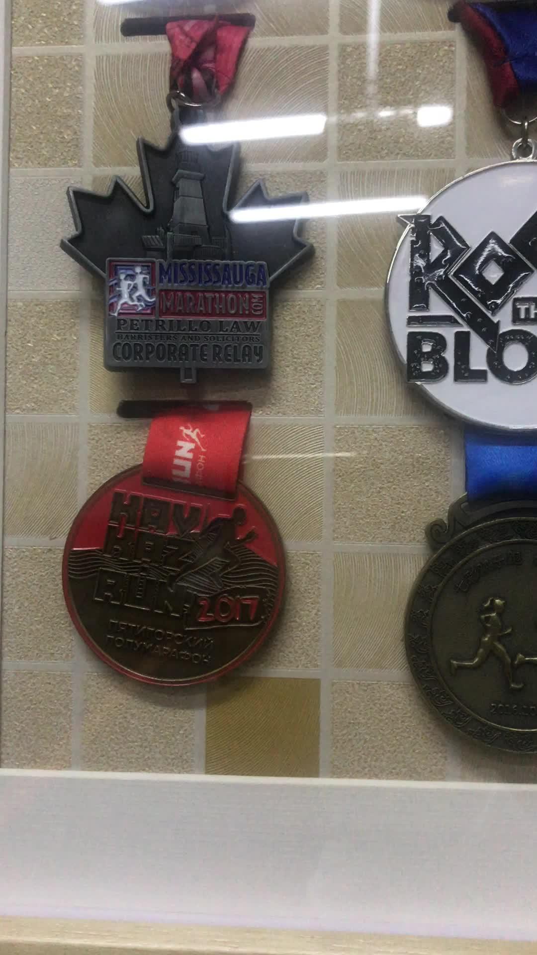 Custom metal football medal marathon sport award with lanyard