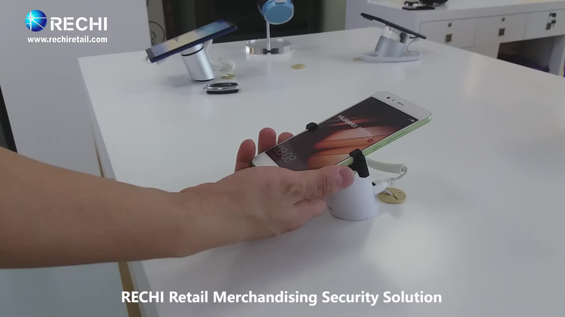 RECHI Retail Display Security Stand With Gripper and Charger Alarm Function for Cell Phone Protex S7