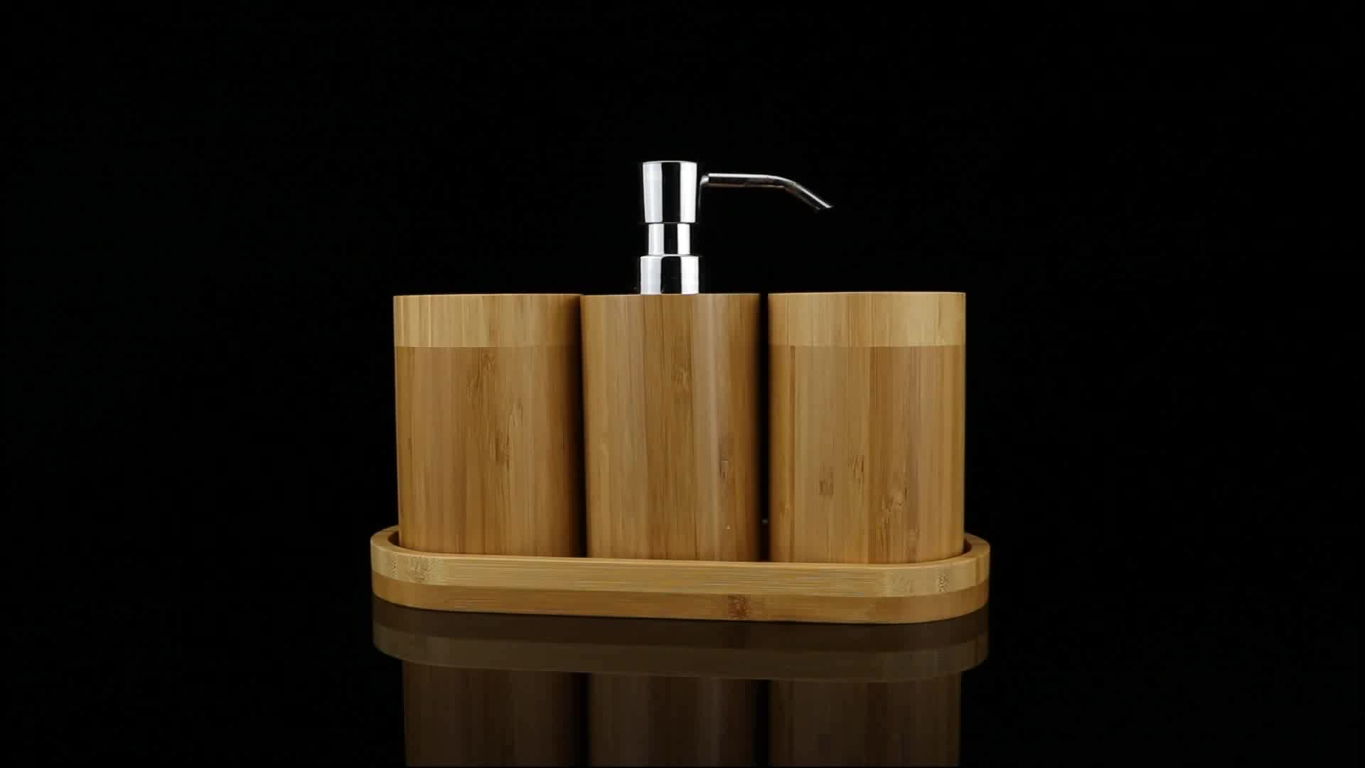4pcs bamboo or wood bathroom accessory set hotel decor - buy bathroom set bamboo,customize item