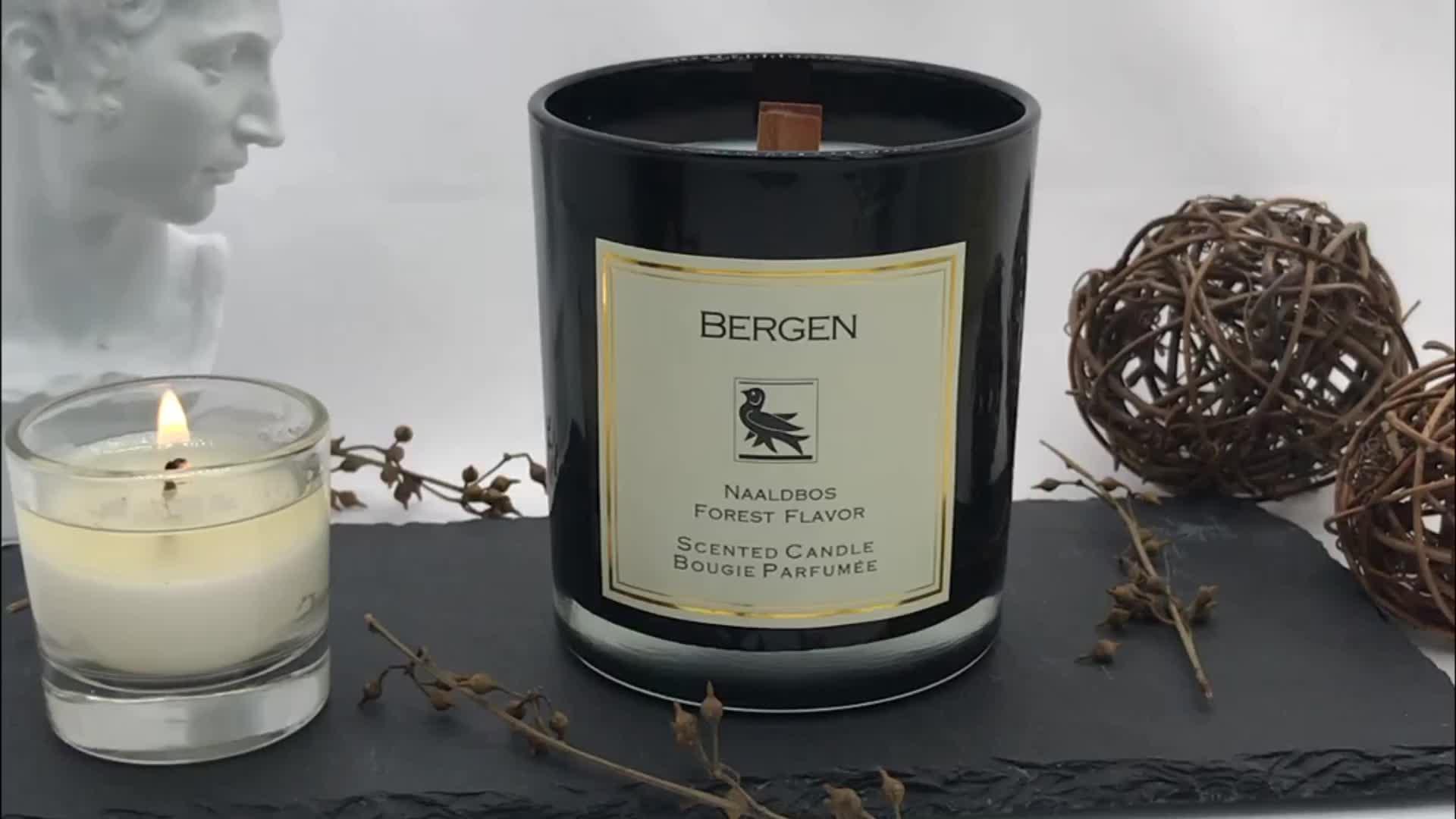 Groothandel custom decoratieve Geurende Luxe Aroma Zwart Glas Kaars