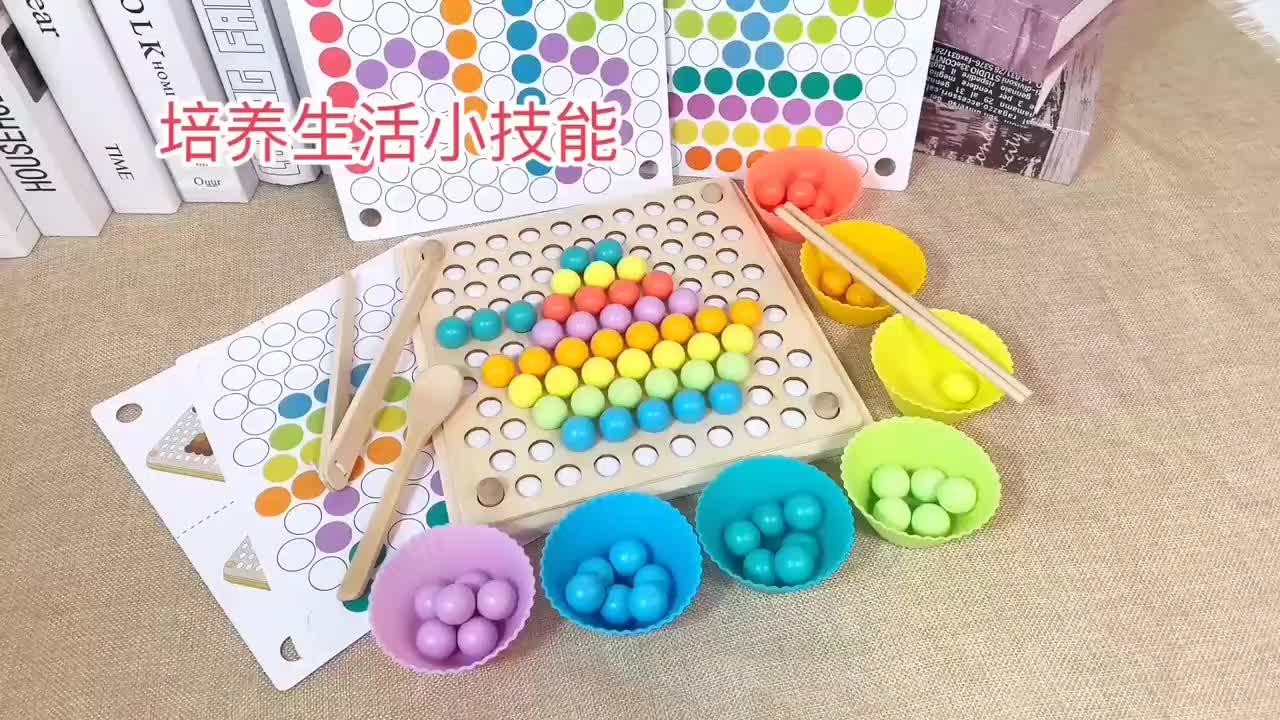 Anak-anak Bayi Berlatih Sumpit Colorful Beads Puzzle Montessori Kayu Mainan Pendidikan