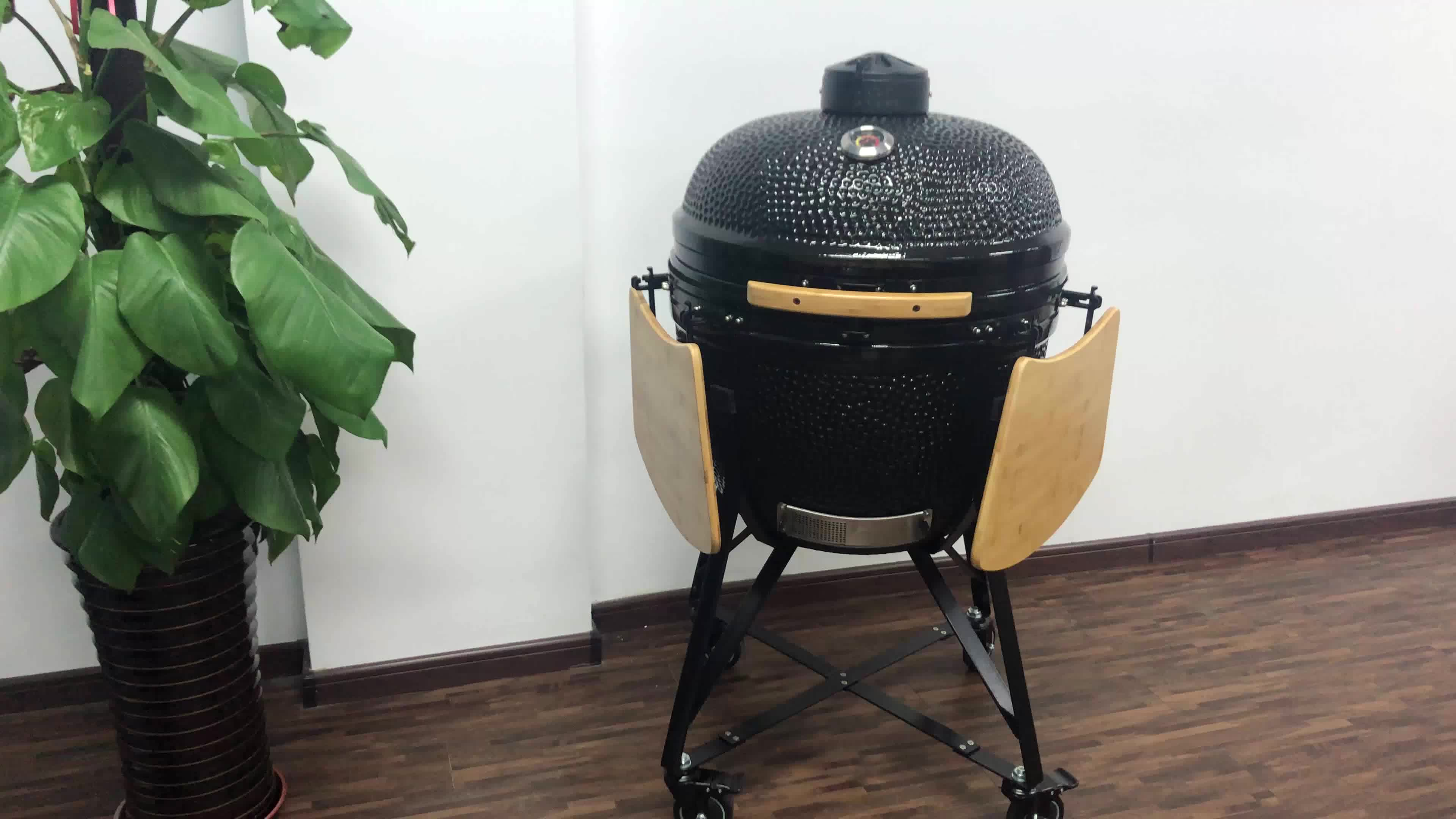Koken Op Kamado Grill TOPQ Zwart Medium Keramische Grill Roker