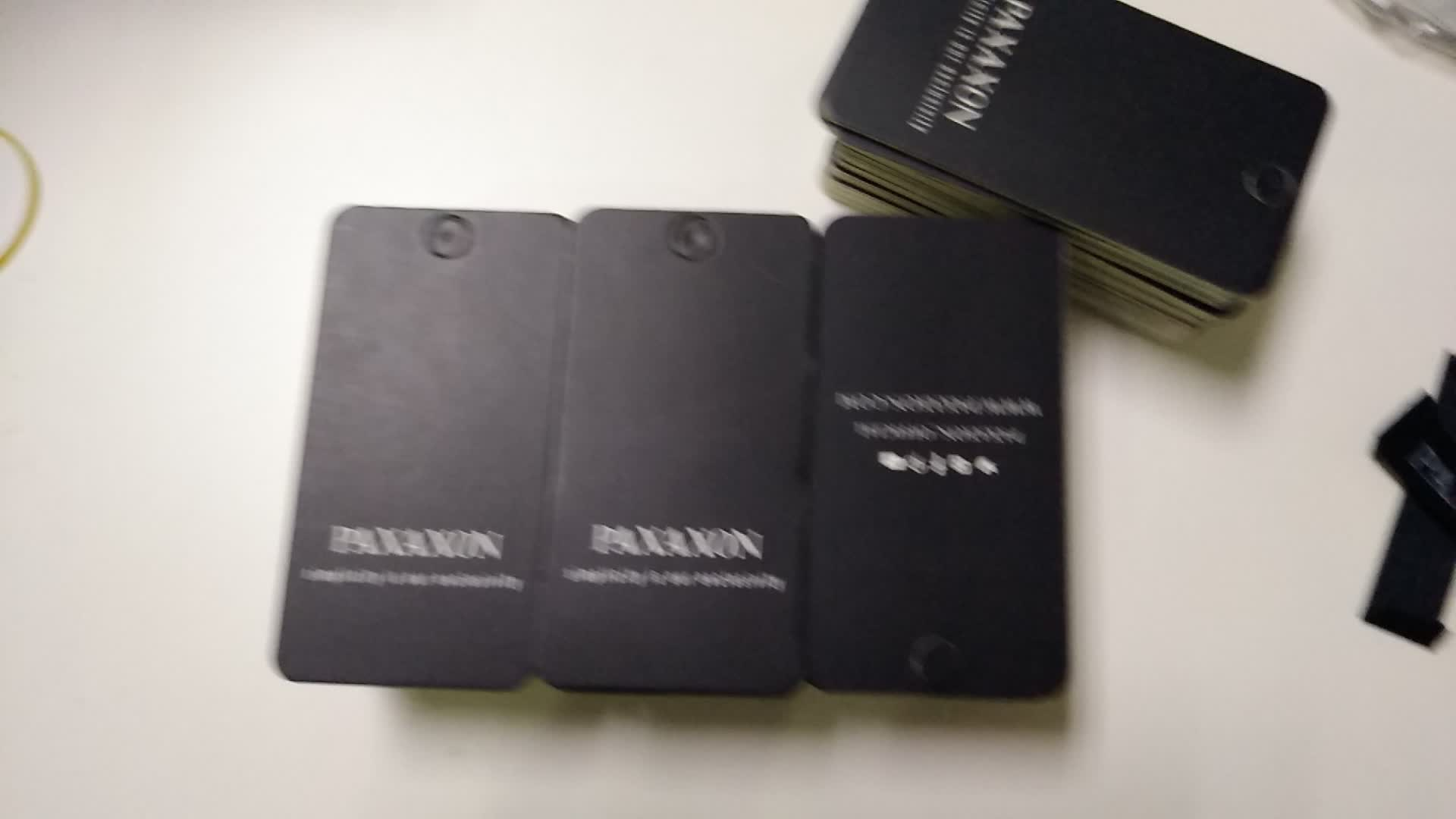 custom black paper printing garment clothing tags
