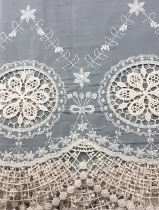 High quality blue Single border embroidery 100 cotton fabric with cutwork for skirt and dress