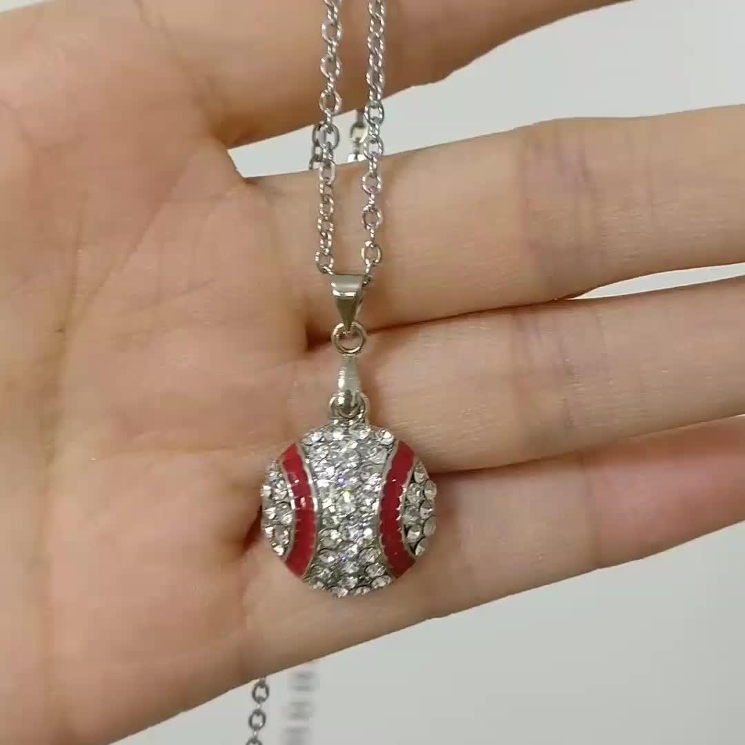 Women Fashion Chain Jewelry Silver Rhinestone Baseball Pendant Necklace
